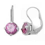 Stříbrné náušnice s růžovými kameny 030.00019