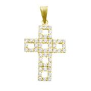Zlatý přívěsek křížek se zirkony a čtvercovými výřezy 010.00006