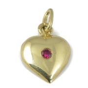 Zlatý přívěsek srdíčko s červeným kamínkem 000.00011