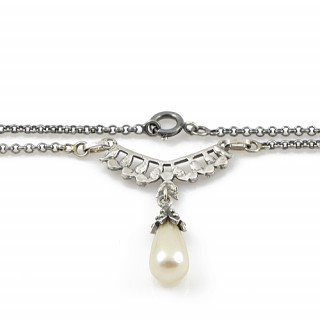 Náhrdelník z portugalského stříbra s perlou a markazity CM-ISCL03P