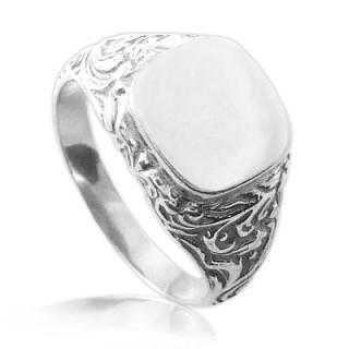 Stříbrný pečetní pánský prsten s boční ozdobou 000.00023