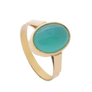 Zlatý prsten žluté zlato s chryzoprasem 880.00005