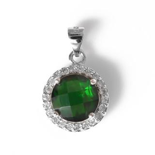 Stříbrný přívěsek zelený kulatý kámen šachov.brusu lemovaný bílými kameny 12.111.00068