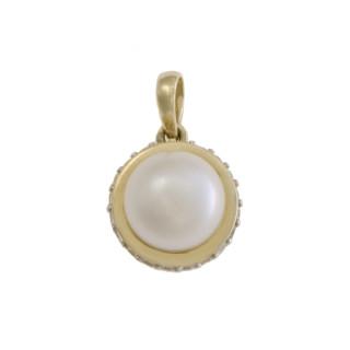 Zlatý přívěsek s bílou perlou 740.00004