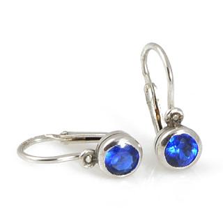 Zlaté dětské náušnice s modrými kameny 080.00137
