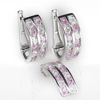 Stříbrná souprava růžovo-bílé kamínky 031.00012