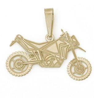 Zlatý přívěsek motorka cross 000.00016