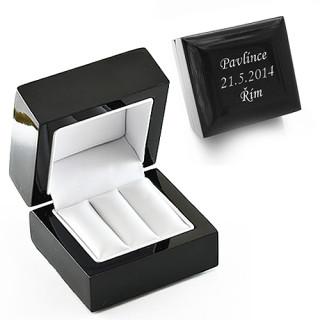 Krabička na šperky dřevěná černá A-15111-17 s gravírem