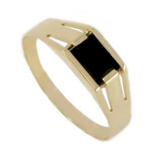 Zlatý pánský pečetní prsten s onyxem 760.1742