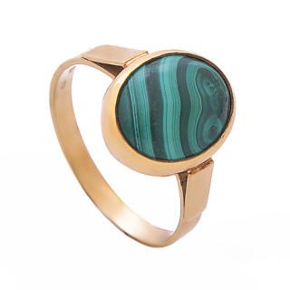 Zlatý prsten malachit žíhaný ovál 870.00002