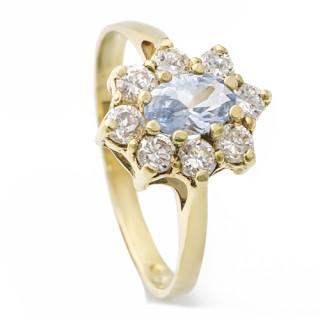 Zlatý prsten se syntetickým akvamarínem 071.00008