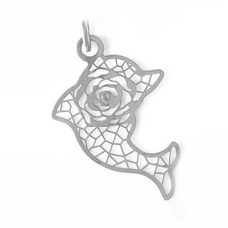 Stříbrný přívěsek delfík přořezávaný motiv růže 000.00089