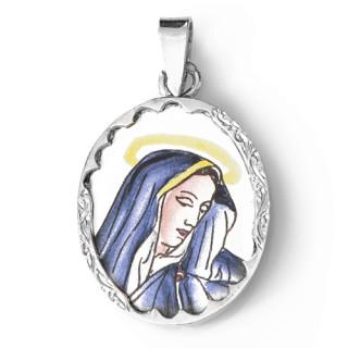 Zlatý přívěsek oválek s Pannou Marií 000.00008