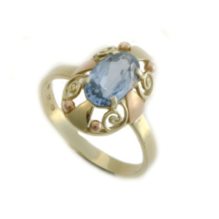 Zlatý prsten barokní s akvamarínem 900.00001