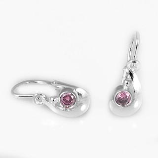 Stříbrné dětské náušnice srpek s růžovým kamínkem 030.00020