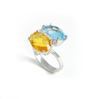 Stříbrný prsten s modrým a žlutým kamenem 211.00232