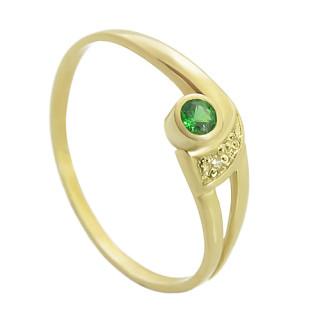 Zlatý prsten se zeleným kamínkem a bílým zirkonem 111.00004
