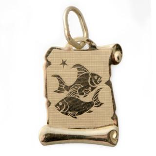 Zlatý přívěsek znamení Ryby pergamen 000.00068