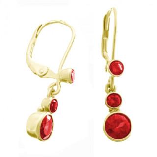 Zlaté náušnice s červenými kameny 050.00033