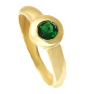 Zlatý prsten s tmavě zeleným kamenem 110.00055