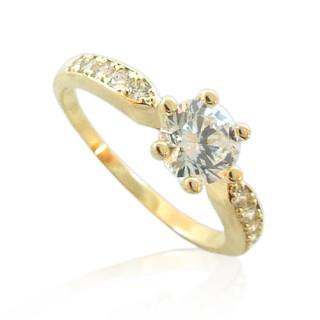 Zlatý zásnubní prsten se zirkonem v krapínkách 010.00019