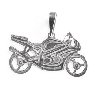 Stříbrný přívěsek motorka sportovní silniční 000.00010