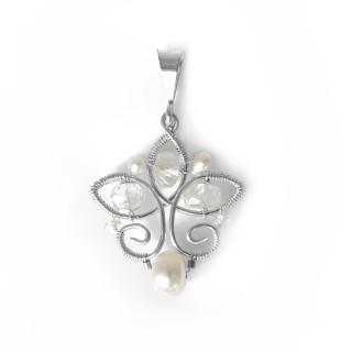 Stříbrný přívěsek s perličkami a korálky ruční výroba 200.00003