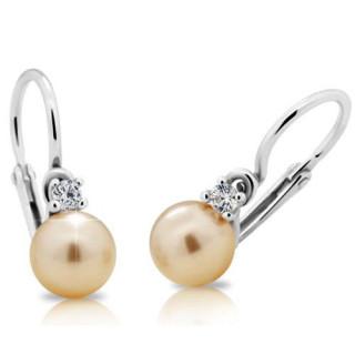 Stříbrné dětské náušnice perla pod malým bílým kamínkem 04.201.00017