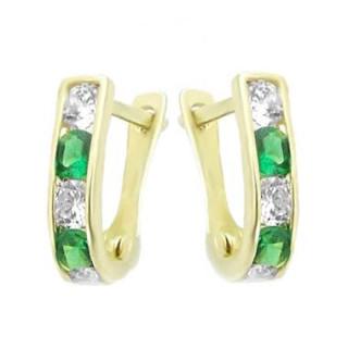 Zlaté náušnice podkovy zeleno-bílé 101.00001