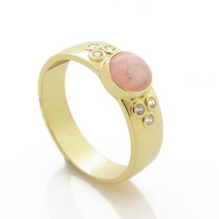 Zlatý prsten s rodochrozitem žluté zlato 030.00005