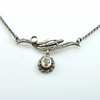 Stříbrný náhrdelník s akvamarínem - portugalský šperk CM 9593