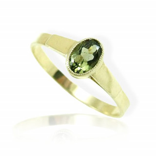 Zlatý prsten s vltavínem 860.00037