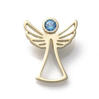 Zlatý přívěsek anděl světle modrý zirkon 070.00001