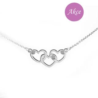Stříbrný náhrdelník se srdíčky RKPLLK0548