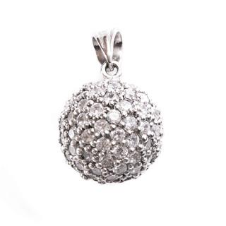 Stříbrný přívěsek velká koule z fasovaných bílých kamenů 12.010.00085