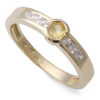 Zlatý prsten s pravým žlutým safírem 911.00001