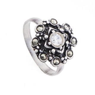 Prsten z portugalského stříbra s markazity a zirkonem  AS-ISAN