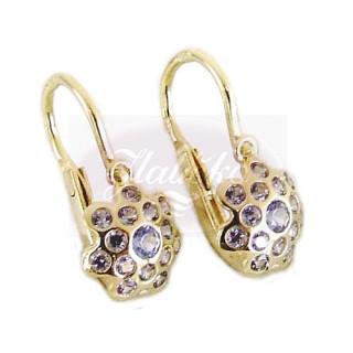 Zlaté dětské náušnice chobotnice světle modrými kamínky 070.00005