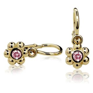 Zlaté dětské náušnice kytičky s růžovým kamínkem 030.00003