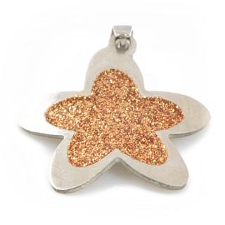 Stříbrný přívěsek květina se zlatými třpytkami 170.00002