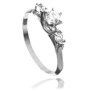 Zlatý zásnubní prsten korunka se zirkony 010.00033