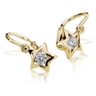 Zlaté náušnice hvězdičky s bílým kamínkem 010.00192