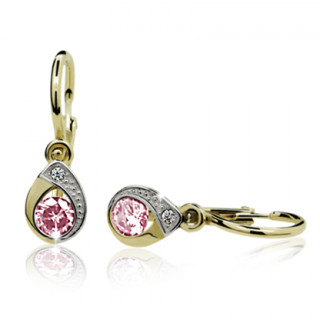 Zlaté dětské náušnice slzičky s růžovým kamínkem 031.00001