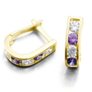 Zlaté náušnice podkovy fialovo-bílé 061.00002