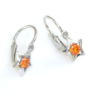 Zlaté náušnice dětské hvězdičky oranžový kamínek 130.00131