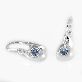 Stříbrné dětské náušnice srpek s modrým kamínkem 070.00002