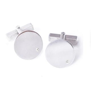 Stříbrné kulaté manžetové knoflíčky s diamantem ZZM17.L20DI