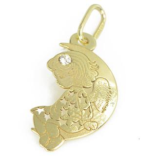 Zlatý přívěsek andílek se zirkonem PA1165
