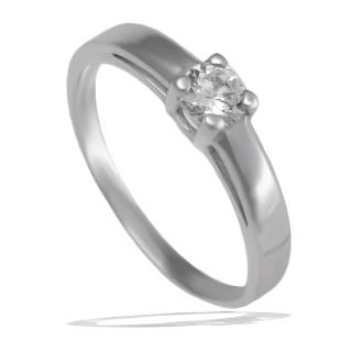 Prsten z bílého zlata se zirkonem 010.00165