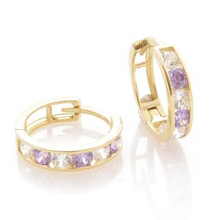 Zlaté náušnice kroužky fialovo-bílé 061.00002